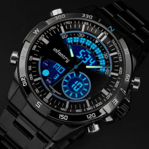 $23.09 - INFANTRY Mens LED Digital Quartz Wrist Watch Chronograph Black Stainless Steel