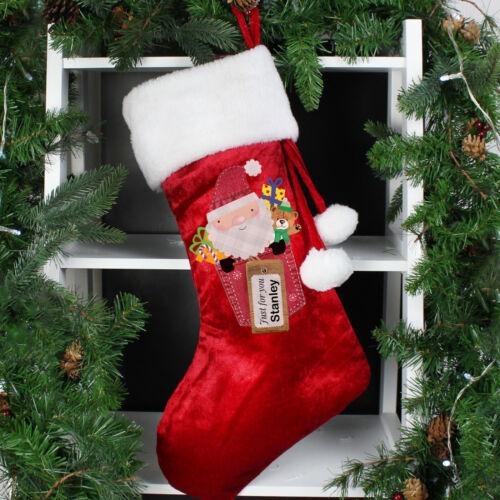 PERSONALISED+LUXURY+WHITE+POM+POM+CHRISTMAS+SANTA+CLAUS+STOCKING+ADULTS+KIDS