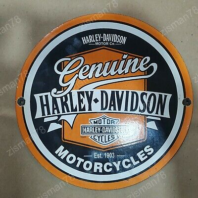 GENUINE HARLEY DAVIDSON VINTAGE PORCELAIN SIGN 12 INCHES ROUND