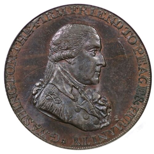 "1795 Washington Grate Ngc Ms65bn ""r.e. Lg Buttons"" Colonial Copper Coin"