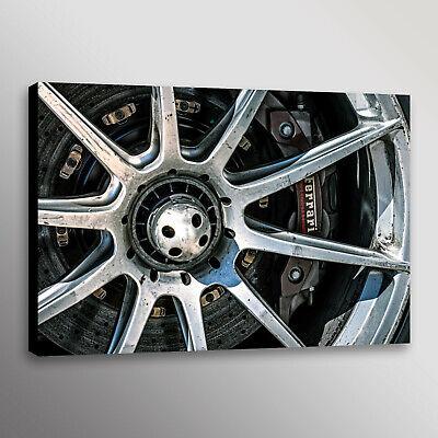 Ferrari FXXK Wheel Brakes Racecar Automotive Car Photo Wall Art Canvas (Car Canvas Art)