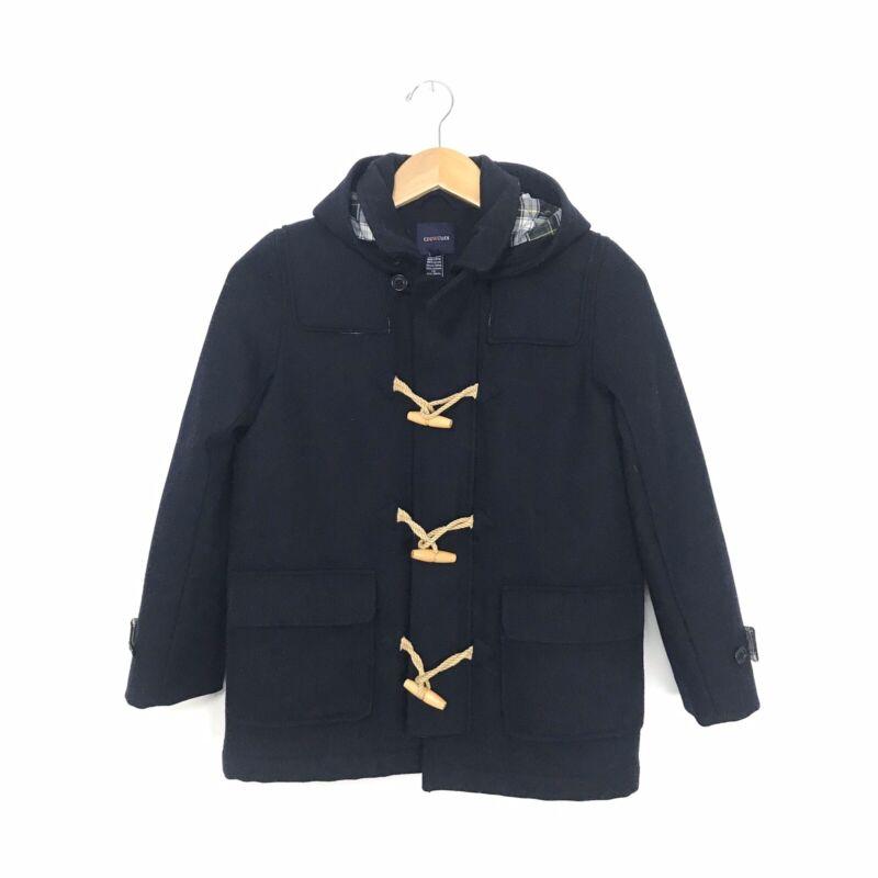 Crewcuts Kids Boys XXL Navy Blue 100% Wool Toggle Pea Coat Peacoat Pockets Hood