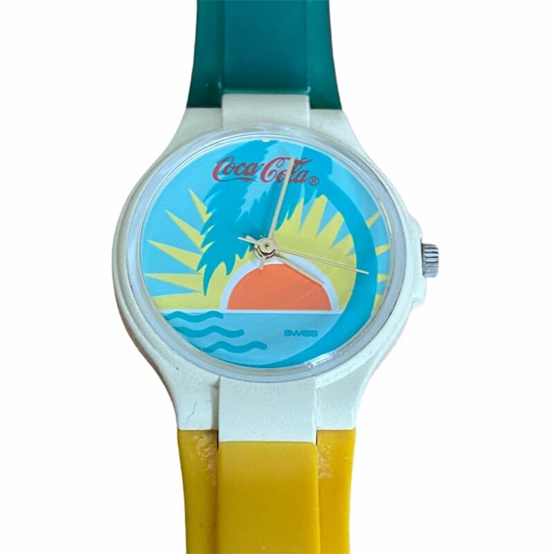 Vintage Swiss Made 1980's Coca Cola Watch with Sun and Palm Tree
