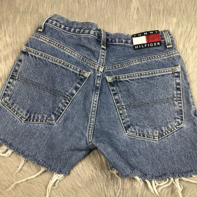 Vintage 90s Womens Tommy Jeans Logo Cut Off Frayed Denim Shorts