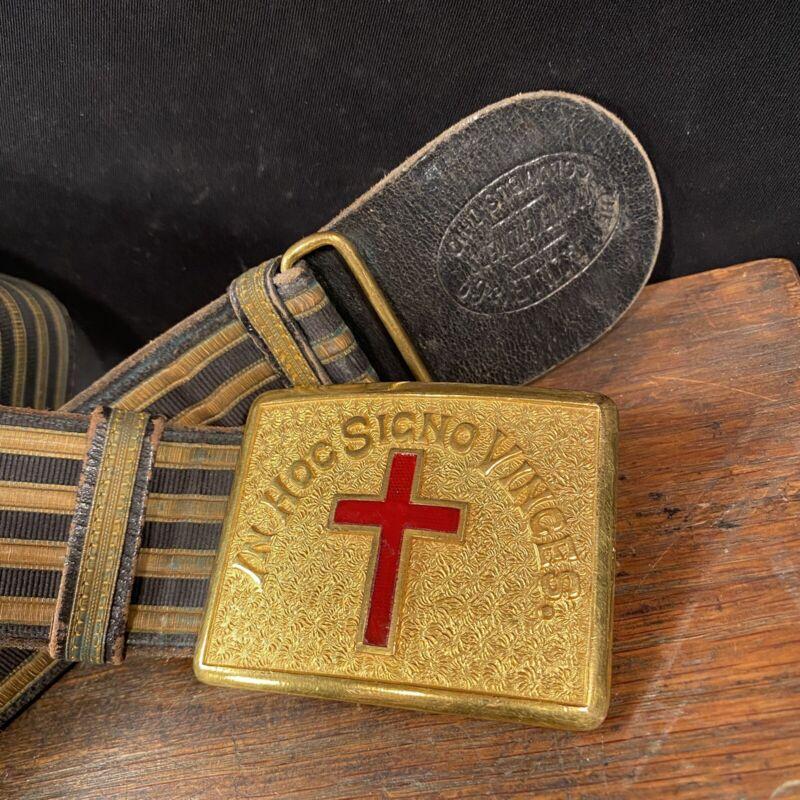 Vtg Knights of Templar Masonic Sword Belt & Gold Buckle Braid USA Ohio PRIORITY