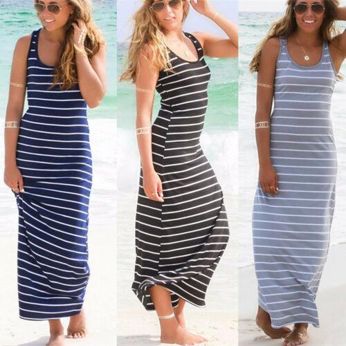 Damen Gestreift Neu Strandkleid Sommerkleid BOHO Style Maxi Lange Kleid Stretch
