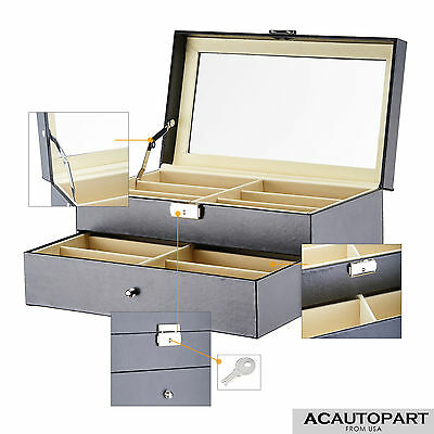 Black Leather Box Jewelry Organizer Display Case for 12 Eyeglasses/Sunglasses