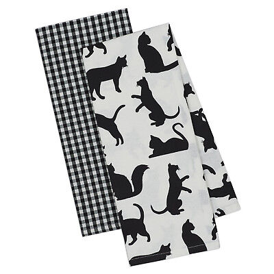 Cat's Meow Dish Towel Set of 2 Black White Checkered New Cotton Cat Kittens - Black And White Checkered Dishes