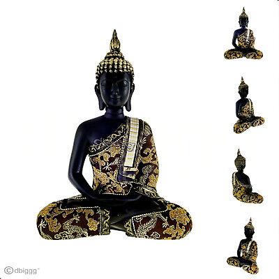 Buddha Meditieren (Thai Buddha meditieren schwarz gold Dekofigur Figur Höhe ca. 25 cm)