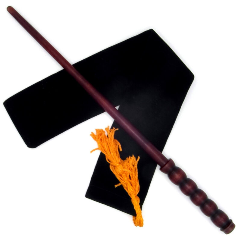 """14"""" Five Orbs Hand Turned Mahogany Wood Magic Wand Witch Wizard w/ Velvet Bag"""