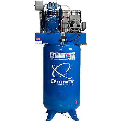 Quincy Compressor Reciprocating Air Compressor 5hp 230v 1 Phase 80-gal V Tank