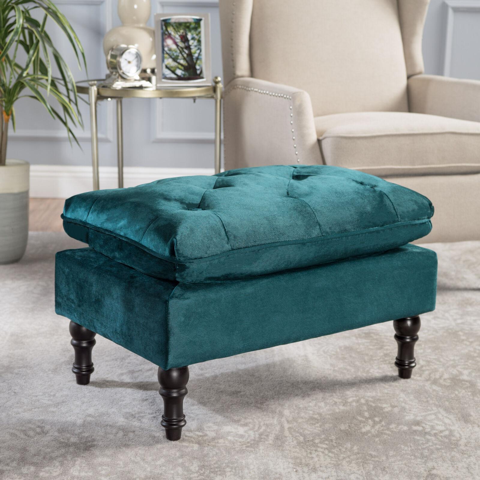 Jeremiah Contemporary Button Tufted Velvet Pillow Top Ottoman Furniture