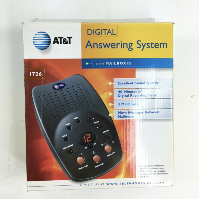 AT&T Digital Answering Machine System w/ 3 Mailboxes 1726  COMPLETE w/ BOX EUC