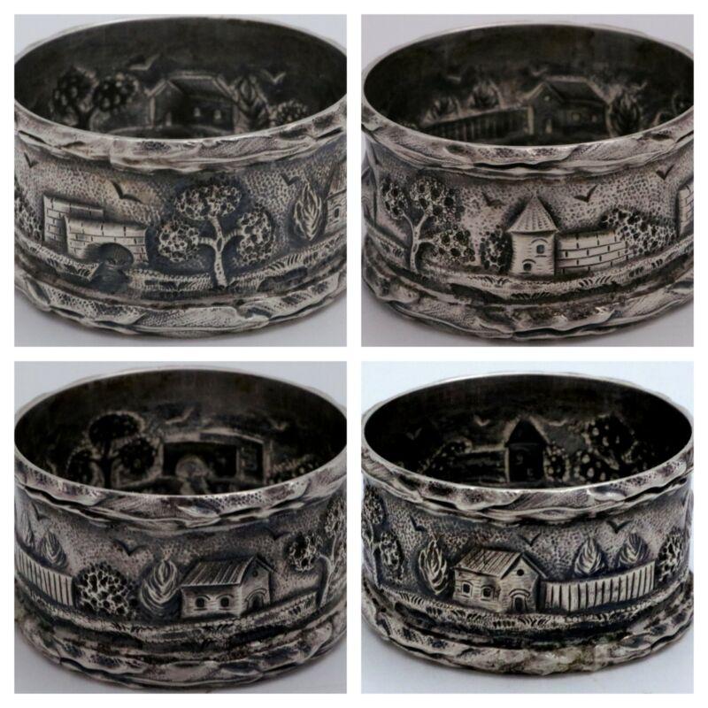 S. Kirk & Son Castle Landscape Sterling Silver Napkin Ring Holder