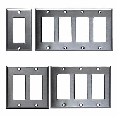 Brushed Stainless Steel Outlet Cover Rocker Switch Wall Plates Decorator -