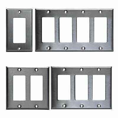 Brushed Stainless Steel Outlet Cover Rocker Switch Wall Plates Decorator Metal. Decorative Switch Cover Plates