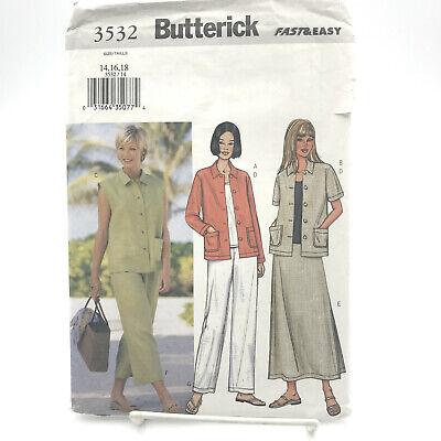Butterick 3532 Misses Petite Jacket Vest Top Skirt Pants Sz 14 18 Uncut Pattern