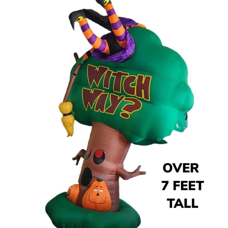Gemmy Inflatable Halloween 7.5 ft Crashing Witch Way Spooky Tree Broom Pumpkins
