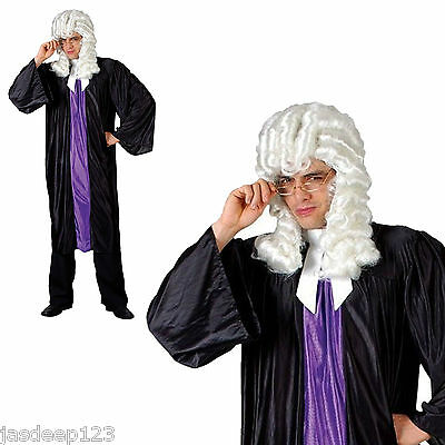 Adult Judge High Court Fancy Dress Costume Mens Lawyer Barrister Robe Gown Wig (Lawyer Costume)