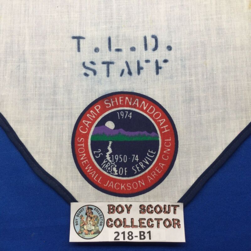 Boy Scout 1974 Camp Shenandoah 25 Years Neckerchief T.L.D. Staff Virginia