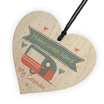 Caravan Home Sweet Home Wooden Plaque Funny Home Decor Shabby Chic Sign Gift