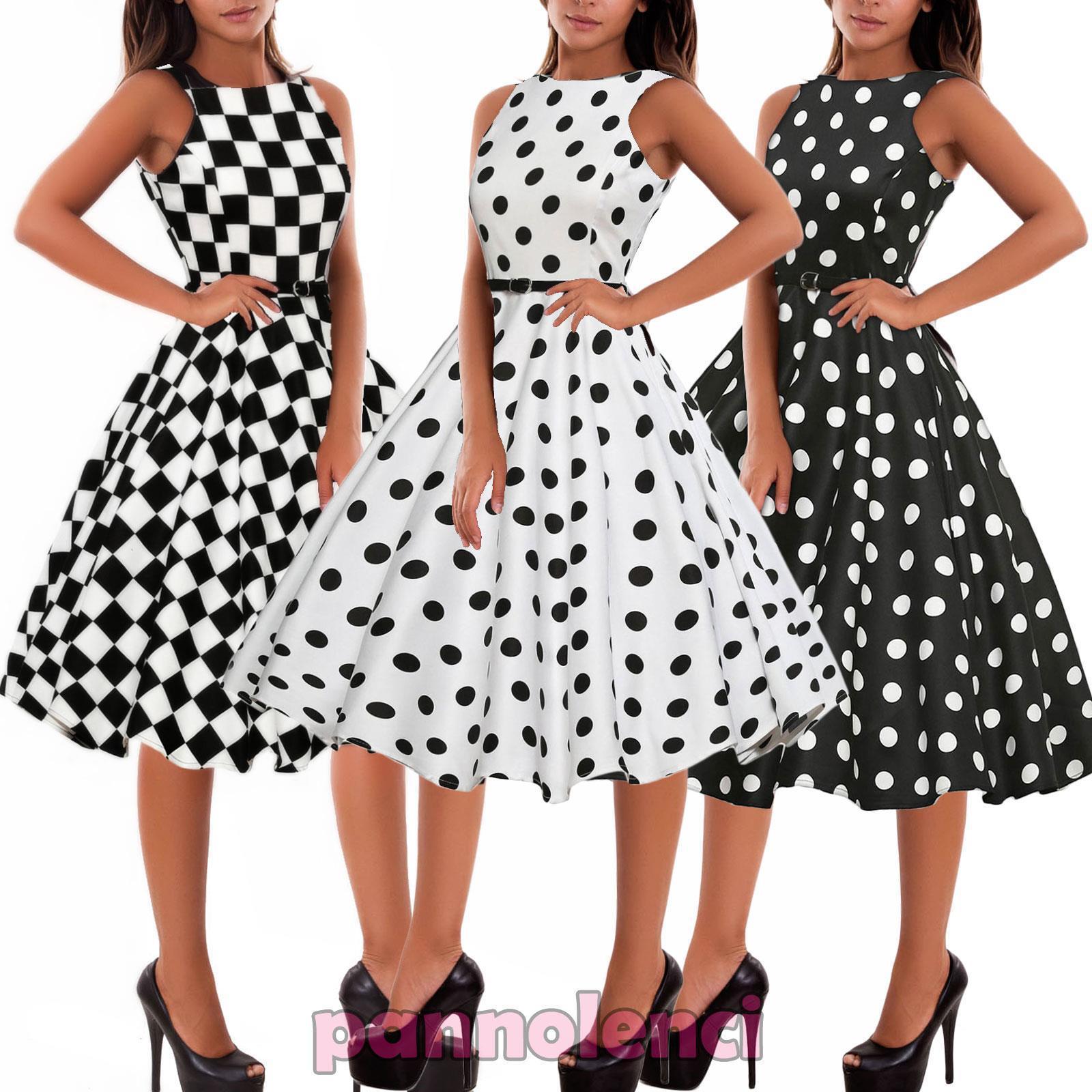 50s Blu a Pois Giorno Costume Donna Vintage Fantasia Abito Outfit 2760