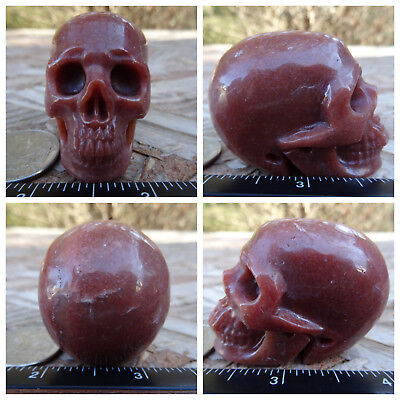 """2.05"""" Red Aventurine Skull Carved Stone 3.5oz 100.3g Crystal Healing Realistic"""