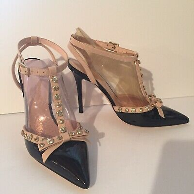 Kate Spade New York Italy Womens 8.5 M Leather Bow Jeweled T Strap Heels Shoes