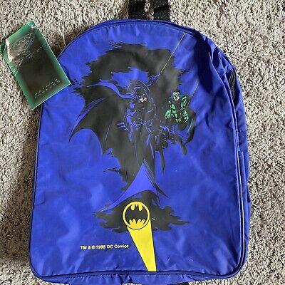VINTAGE Batman Returns Backpack Book Bag Nap Sack Joker Riddler DC Comics 1995 Backpack Nap Sack