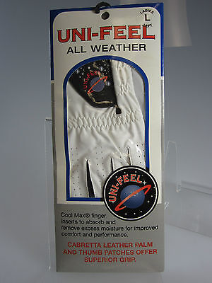 NEW Uni-Feel All Weather Ladies Left Large White Golf Glove w/ Cool Max (B695)pt ()