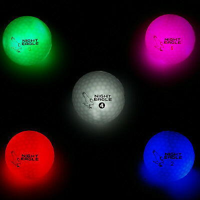6 LED Golfbälle Night Eagle - Leuchten Pink Weiß Grün Blau Bunt Golf Geschenk ()