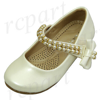 Childrens Ivory Dress Shoes (New girl's kids beads formal dress wedding shoes ivory bow formal holiday)