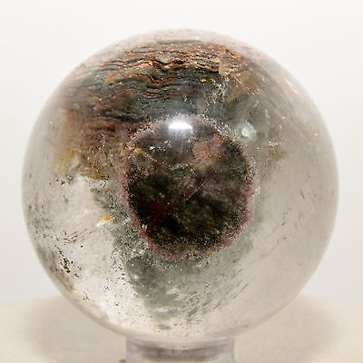 45mm Rainbow Red Green Chlorite Quartz Sphere Phantom Ghost Crystal China +Stand