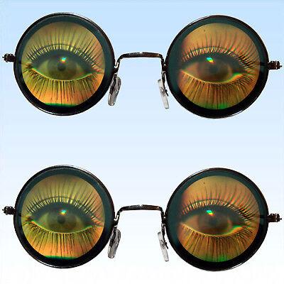 2 x Hologrammbrille große Augen Brille 3D Augenbrille Funbrille Komplettbrille