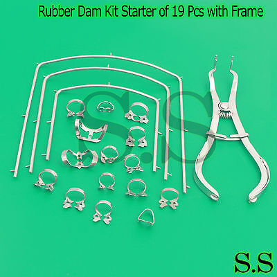 Rubber Dam Kit Starter Of 19 Pcs With Frame Punch Clamps Dental Instrum Dn-2125