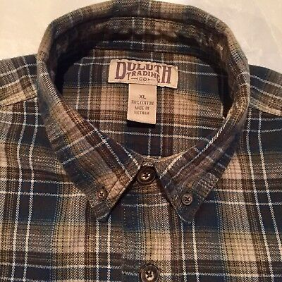 Duluth Trading Co Mens Xl Button Down Flannel Shirt Blue Brown Tan Plaid