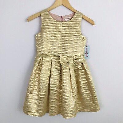 NEW! Girl's M (7/8) Cat & Jack Gold Shimmer Party Dress](Gold Girl Dress)