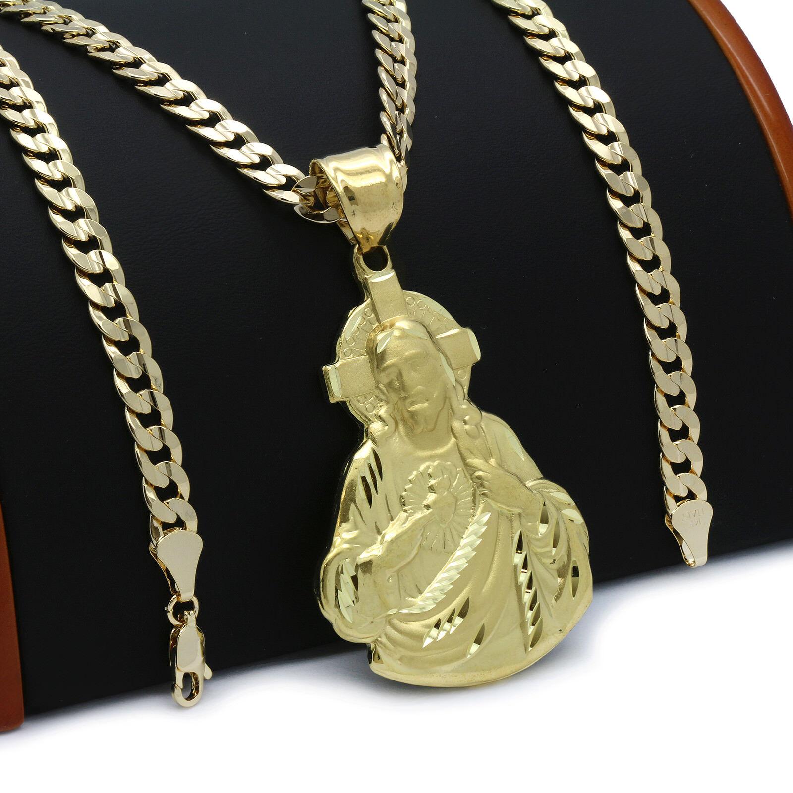 Mens 18k Gold Plated JESUS Hip-Hop Pendant 6mm Cuban Chain N