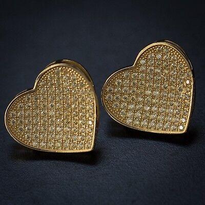 (Women's Large Gold Diamond Heart Shape Stud Earrings)