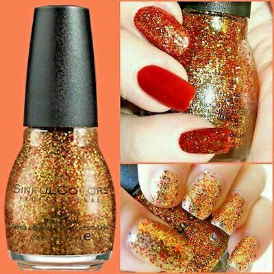 Halloween Nail Polish (Sinful Colors Nail Polish 1135 Pumpkin Spice Burnt Orange Glitter Fall)
