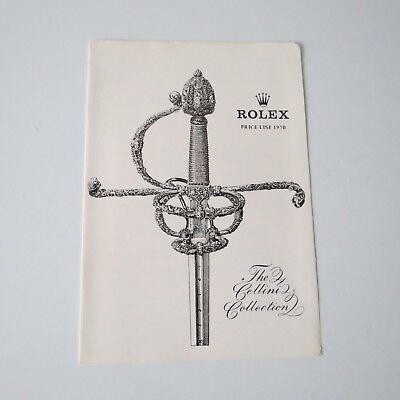 ROLEX Canada VINTAGE PRICE LIST 1970 RETAIL PRICES Cellini Collection