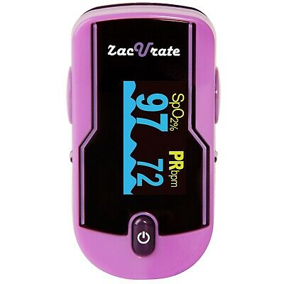 Zacurate 500e Purple Fingertip Pulse Oximeter Heart Rate Meter O2 Reader Monitor