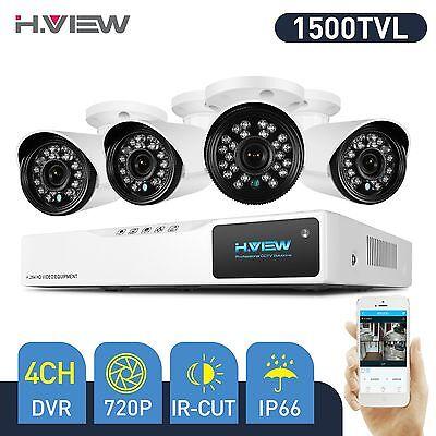 4CH 1500TVL Home Security Camera System 1080N CCTV DVR Kit 720P Outdoor Cameras