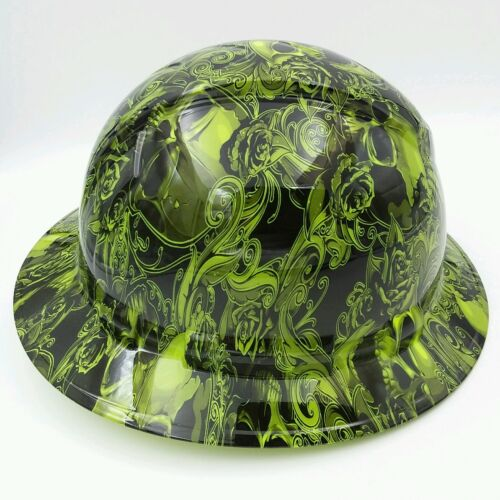 Hard Hat FULL BRIM  custom hydro dipped , OSHA approved SKULLS N ROSES LIME  2