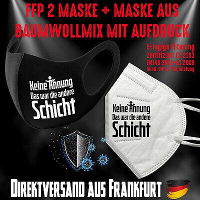 Fashion Mask Baumwollmix waschbar plus FFP2 Mundschutz Maske Keine Ahnung Bundle