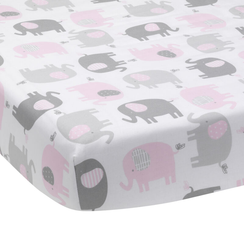 Bedtime Originals Eloise Gray/Pink/White Elephant Baby Fitted Crib Sheet