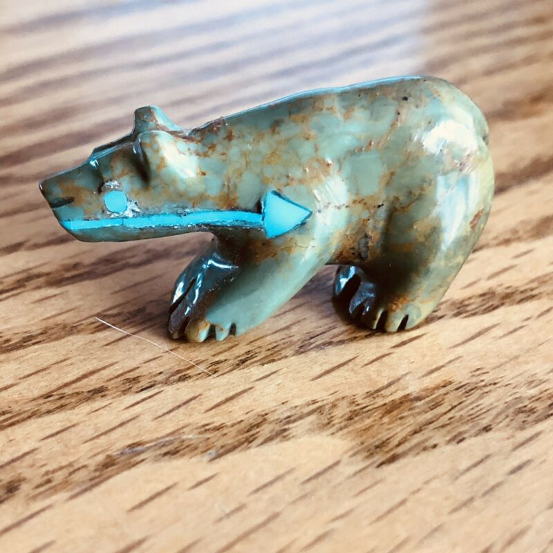 Zuni Turquoise Bear Fetish by Andres Quandelacy Heartline*SIGNED* New 0066