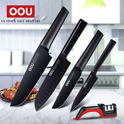 OOU 5pcs Chef Knife Set Kitchen Knives Stainless Steel Cutlery Knife Sharpener