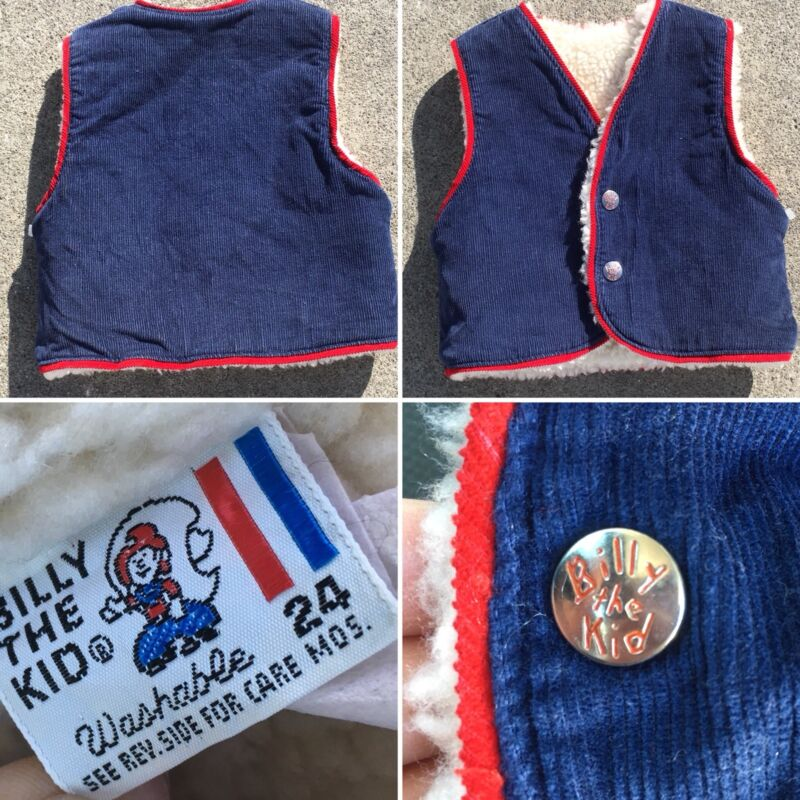 Vintage Billy The Kid Corduroy Vest Snap Front Faux Sherpa Lined 24 Mos Western