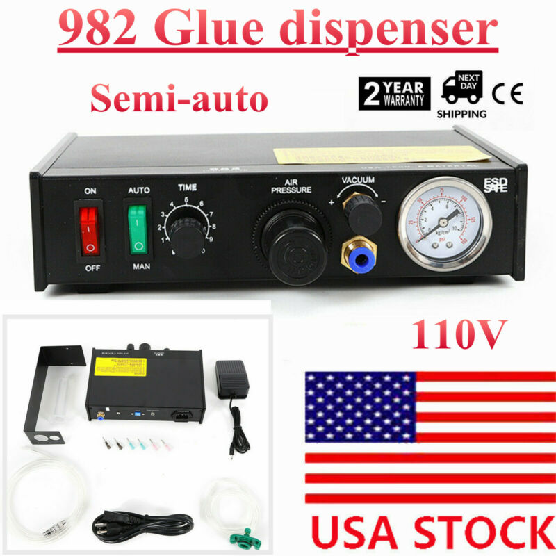 982 Solder Paste Glue Dropper Liquid Semi-Auto Adhesive Dispenser Controller SMD